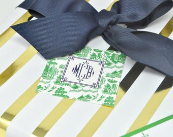 Monogrammed/Personalized Green Chinoiserie Enclosure Cards qty 24