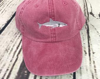 Shark hat, Shark baseball hat, Shark baseball cap, Pigment dyed hat, Beach hat, Nautical hat, Spring break hat