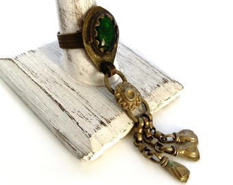 Vintage Green Glass And Dangles Afghan Kuchi Kochi Tribal Ring Ethnic Jewelry Size 11.5