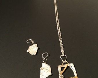 Silver Pendant Necklace and Earrings