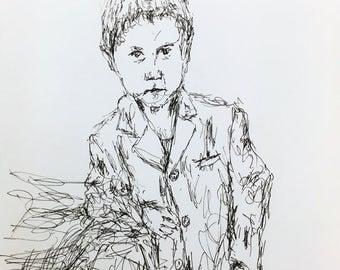 Portrait of a boy - Original Ink Pen Drawing