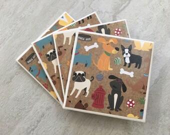 Dog Coasters, Dog Decor, Dog Gift, Puppy Coasters, Puppy Gift, Puppy Decor, Hostess Gift, Housewarming Gift, Tile Coasters, Ceramic Coasters