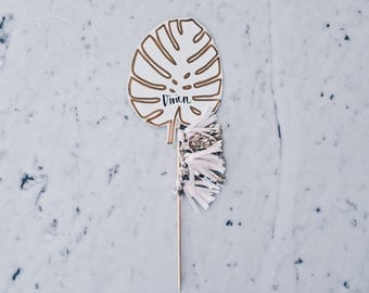 Monstera Leaf Cake Topper / Palm Tree Leaf / Gold Modern Calligraphy / Custom Hand Lettered / Pink Blush Gold / Mini Tassels / Baby