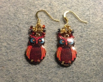 Red and blue enamel owl charm earrings adorned with tiny dangling red and blue Chinese crystal beads.