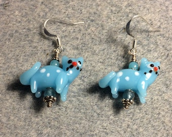 Opaque aqua lampwork cat bead dangle earrings adorned with light aqua Czech glass beads.