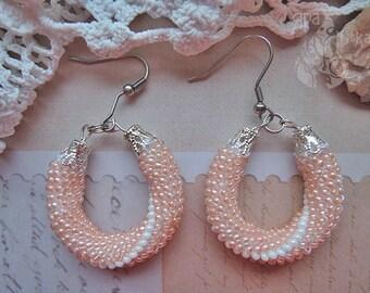 Bridesmaid gift Hoop earrings Beaded earrings Dainty earrings Modern earrings Earrings for women Elegant earrings Wedding earrings Gift her