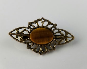 Lind-Gal  Tiger Eye Antique Goldtoned Filigree Bar Pin Brooch, Vintage 1960's