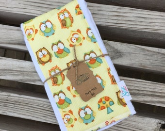 Owls CLOTH DIAPER Burp RAG