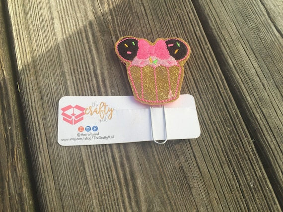 Mouse inspired glitter Cupcake Clip/Planner Clip/Bookmark. Mouse Planner Clip. Cupcake Planner Clip