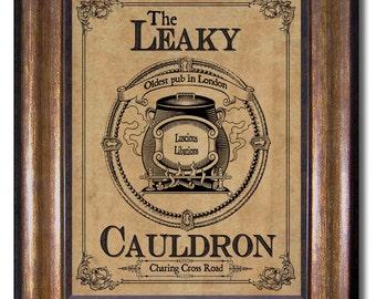 Harry Potter - Leaky Cauldron Vintage Style Print - Diagon Alley Shop -  Multiple Sizes 5x7, 8x10, 11x14, 16x20, 18x24, 20x24, 24x36