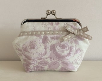 Handmade Make Up Bag in Mauve Posey with Bow & silver metal kiss lock frame