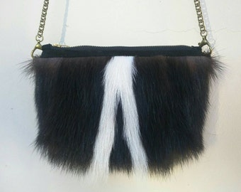 Genuine Skunk Fur  Zippered and Soft Leather Lined Cross Body Pouch / Purse. Handmade. Beautiful