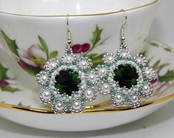 Earrings Beaded Earrings/Hazel/Green and Silver Earrings handmade Earrings/