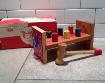 Original ATF Pounding Board Bench Childs Toy Vintage with Box Childs room Decor, Collectible Wooden Toy Game