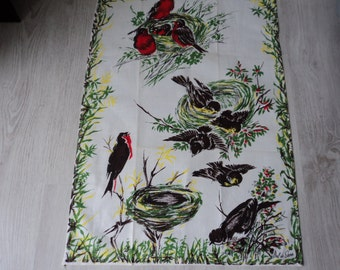 REDUCED - French vintage cotton printed bird tea towel / torchon  (04130)