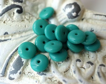 Turquoise Discs, Czech Beads,  deads, N1777