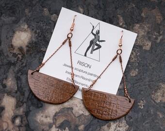medium bronze chandelier earrings, bronze dangle wood earrings, wood chandelier earrings, festival earrings, boho earrings, hipster earrings
