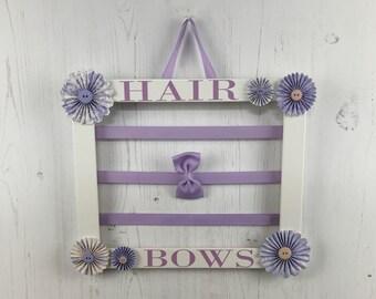 Hair bow holder, hair clip holder, barrette holder, white frame