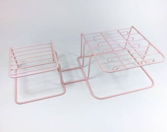 Vintage Pink Dish Rack Mid Century 1950s Coated Metal Plate Cup Holder