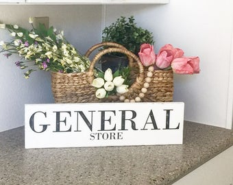 Large  Rustic sign GENERAL STORE kitchen sign, farmhouse decor, cottage decor, distressed