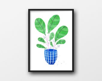 A4 Plants Risograph print, edition of 25