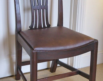 Chippendale Style Mahogany Side Chair with Leather Drop-In Seat