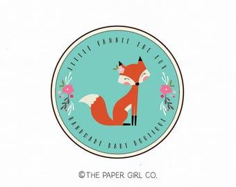 fox logo woodland logo rustic logo premade logo photography logo baby shop logo children's boutique logo circular logo boho logo design