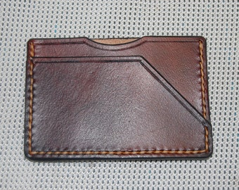 leather card case, minimalist card holder. credit card case 100% real leather handmade hand stitched