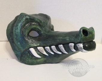 whimsical, Alligator mask, Gator mask, reptile, masquerade mask, adult costume mask, fantasy, guardian, swamp creature, everglades