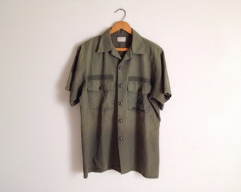 Vintage 60s Navy Seabees Work Shirt Olive Green Military