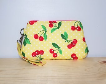Curvy Clutch - Retro Vintage Cherries - Clutch with keyfob - Evening Bag - Wristlet - Zippered Bag - Polka Dots - 1950's style
