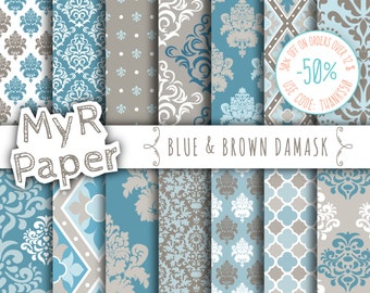 "damask digital paper: ""BLUE & BROWN DAMASK"" with damask backgrounds and patterns for scrapbooking"