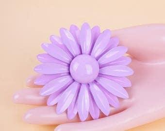 Vtg 1960s Purple Lilac Enamel Flower Brooch // VTG Enamel Flower Large Cute Party Collectors Item