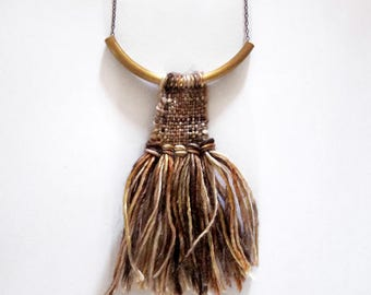 Woven Necklace - Fiber Necklace // FALL WARRIOR NECKLACE // textile jewelry