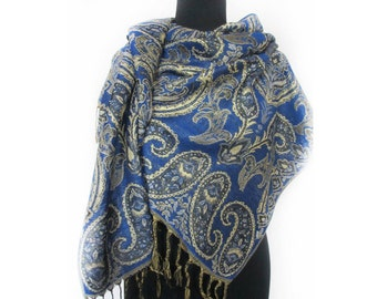 Beautiful Blue Scarf, Pashmina Paisley Scarf, Boho Shawl, Fashion Floral Scarf, Valentines Day Gift, Romantic Gift, Indian Shawl