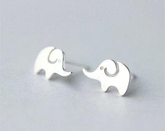 Cutie Elephant Stud Earrings,Sterling Silver Earrings,Elephant Post Earrings,Stud Earrings,Elephant Studs,Gift For Teens,Animal Jewelry