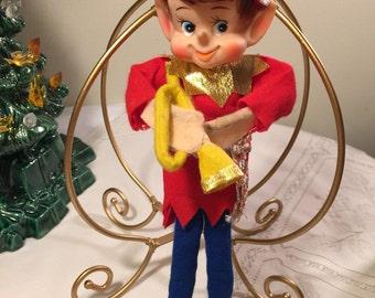 Kitschy pixie elf trumpet player - vintage pixie - japan pixie - music pixie elf - vintage christmas elf - trumpet player
