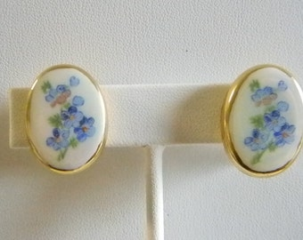 Oval Ceramic Blue Floral Design Clip Earrings
