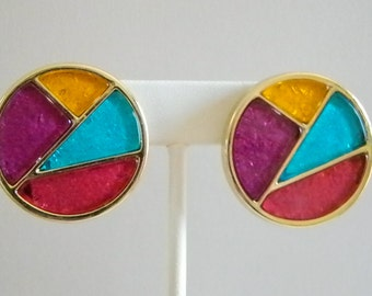 Large Round Abstract Multi Colored Pierce Earrings