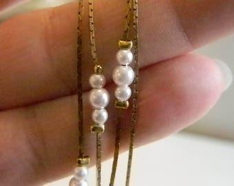 Gold Tone Box Chain Pearl Necklace