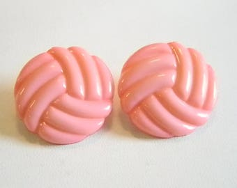 Shiny Pink Round Button Pierced Earrings