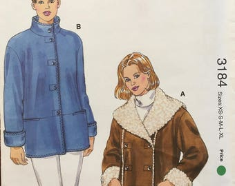Kwik Sew K3184 Misses' Jackets Faux Fur Jacket,  Multi Size, XS-XL