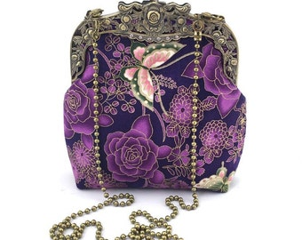 DIY Vintage Purse/Sewing Coin bag/Purple Bag/Butterfly Pattern/size 16cm for 6P/With Chain in