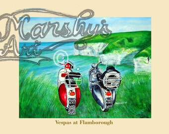 Vespa's at Flamborough, scooter painting art print,mod scooters,the perfect scooter gift by Marshys Art.