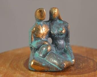 Vintage miniature brass, couple ,in love,man,woman figure