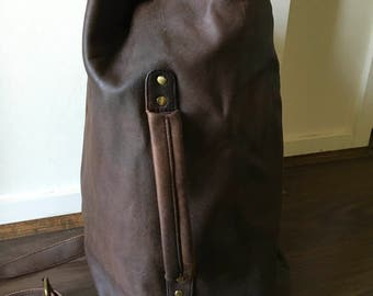 Leather duffle bag. For men. Handmade real genuine leather duffle bag, carryall. Perfect sized to be a handbag or overnighter.Leather duffle
