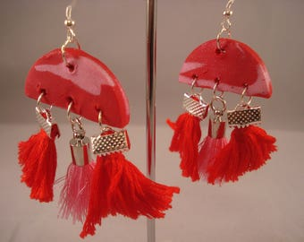 Fiery red and pastel pink clay and tassel dangling earrings