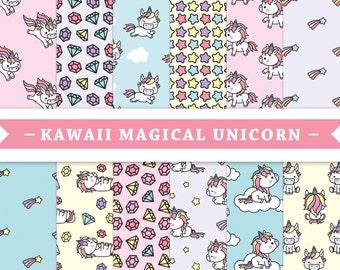 Premium Digital Paper - Scrapbooking Paper - Kawaii - Unicorn - Cute Unicorns - Patterns - Patterned Digital Paper - Printable Paper Set