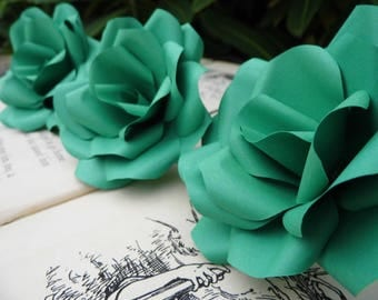 3 x Green Paper Roses - Paper Flower - handmade flowers, Romantic Gift Table Decorations, Wedding Flowers, Anniversary Gift