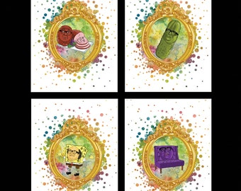 Danny DeVito Portrait - Print Set of 4 -  It's Always Sunny in Philadelphia - Frank Reynolds - Rum Ham, Pickle, Couch, Spongebob Squarepants